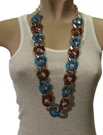 Gold, Brown and Blue chain.
