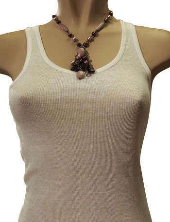 Light and dark purple beaded necklace.