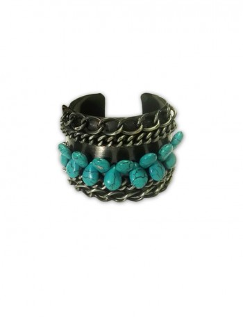 Silver Bangle with Turquoise Beads