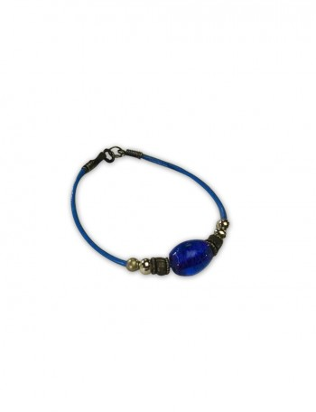 Blue Leather and Blue Bead Bracelet