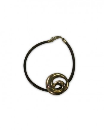 Brown Leather and Spiral Charm Bracelet
