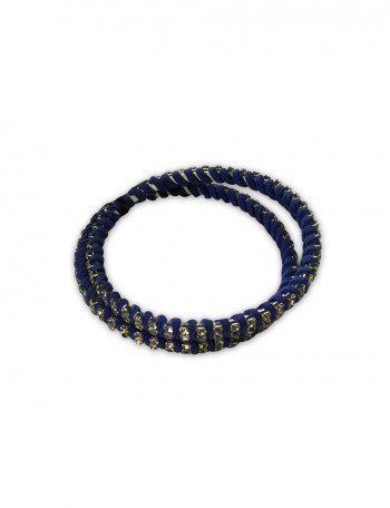Blue Leather and cubic stones Bracelet